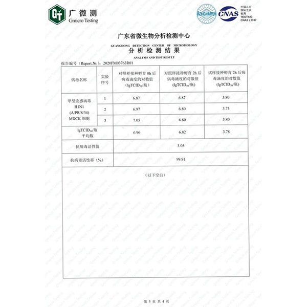 silver facial mask-anti H1N1 virus report