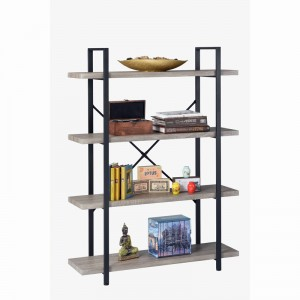 Book Rack 4-Shelf Vintage Industrial Shelving Unit for home
