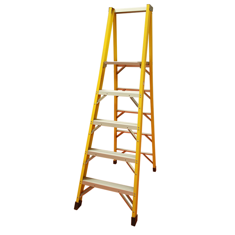 Yellow fiberglass platform step ladder  PFGH105