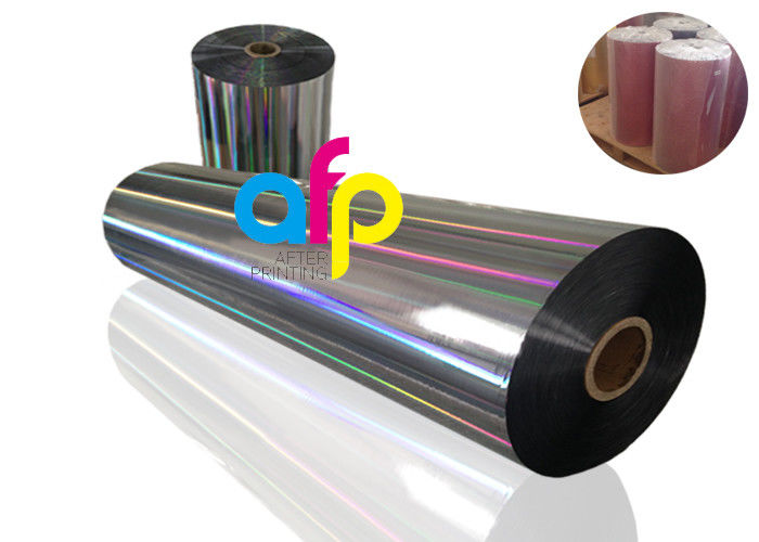 20 Mic PET Dry Holographic Film Roll , Clear Polyester Film With Rainbow Pattern