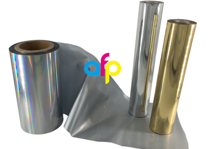 Paper / Paperboard Holographic Film Roll , Metalized Silver / Gold Hot Foil
