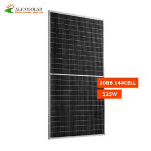 Alicosolar Mono 144 half cells Bifacial solar panels 515W 520w 525w 530w 535w 182mm cell 10BB