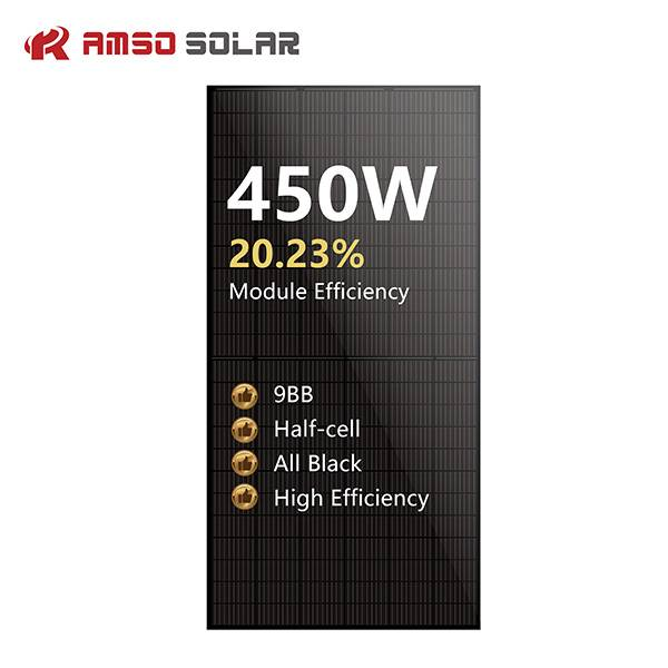 9BB 144 half cells solar panels all black mono 450w Featured Image