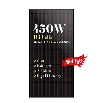 9BB 144 half cells solar panels all black mono 450w