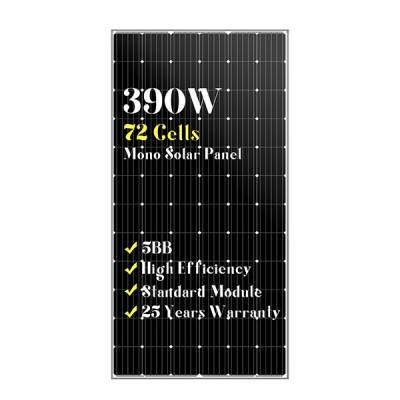 72 cells standard size mono black solar panels 390w
