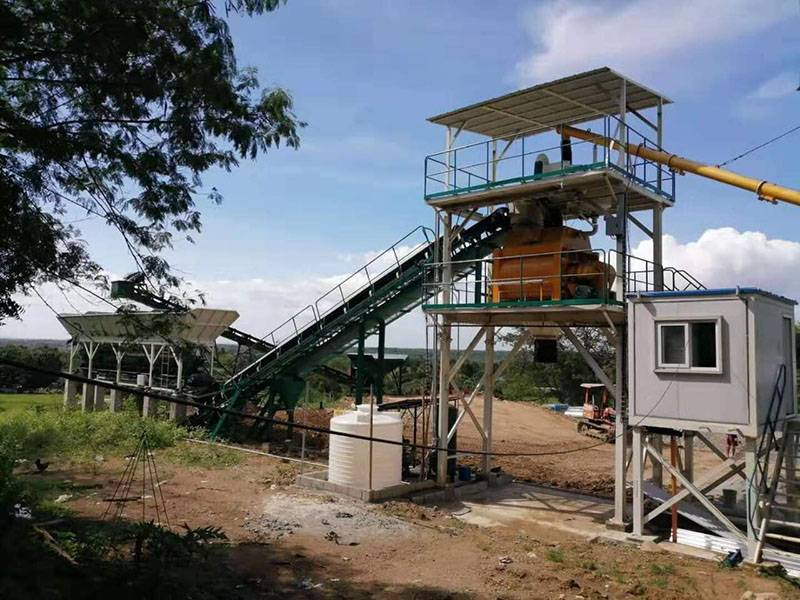 HZS60 concrete batching plant in Philippines