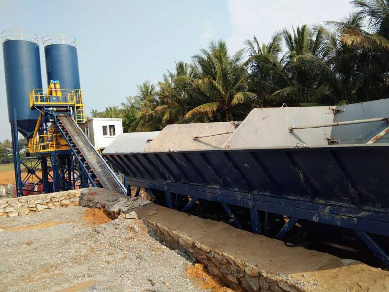 HZS90 concrete batching plant in Indonesia