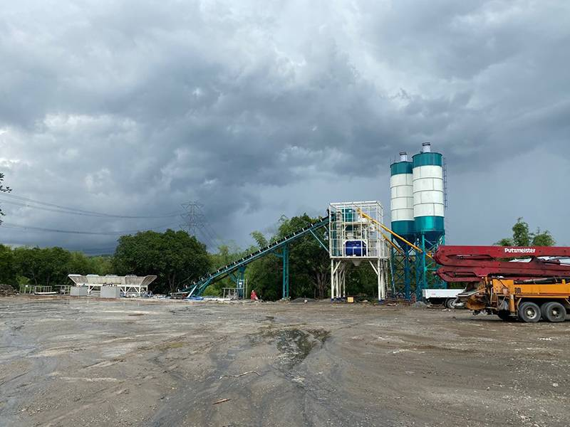 HZS90 concrete batching plant in Philippines