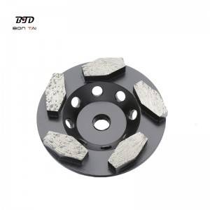 4 inch hexagon segments turbo diamond grinding cup wheel