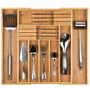 China Cheap price China Kitchen Bamboo Drawer Organizer for Storage Kitchen Drawer Divider of Tableware Cooking Utensils
