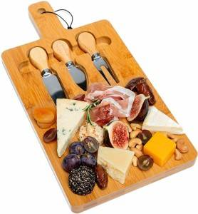 Bamboo Cheese Board with Cutlery Set Wooden Cheese Charcuterie plates Tray with Handle