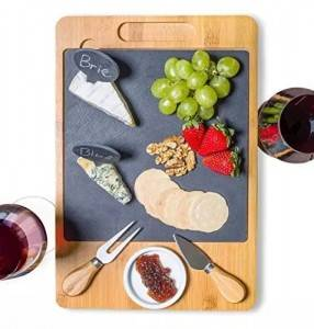 Bamboo Slate Cheese Board Set with Ceramic Bowl and Drawer Serving Cutting