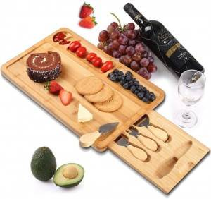 Bamboo Wood Serving Tray with Handles for Food, Breakfast Tray, Party Platter, Nesting, Kitchen and Dining