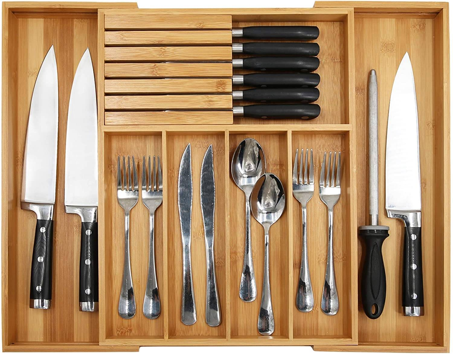 OEM Supply China Bamboo Silverware Drawer Organizer Kitchen, Expandable Utensil Holder and Cutlery Tray with Divider and Knife Block Featured Image