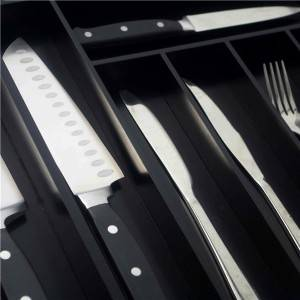 Bridge Style BambooCustom Flatware Drawer Organizer Expandable Silverware Drawer Organizer Kitchen Utensil Holder and Cutlery Tray 7-9 Slot with Black Painting