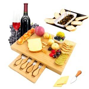 Factory Outlets China Premium Wood Cheese Board Set with Cutting Board and 4 PCS Stainless Steel Knives and Ceramic Bowls and Forks