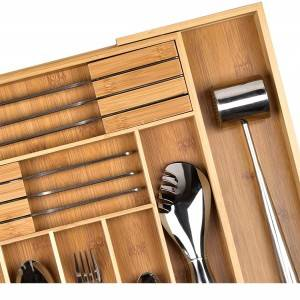 Large Bamboo Expandable Utensil Cutlery Storage Tray Drawer Organizer, Adjustable Kitchen Drawer Divider