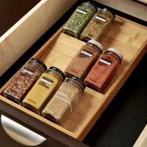 Hot-selling Utensil Tray - 100% Original China Wholesale Cheap Price Bamboo Spice Bottle Jars Rack Holder Kitchen Spice Rack Organizer – Bridge Style