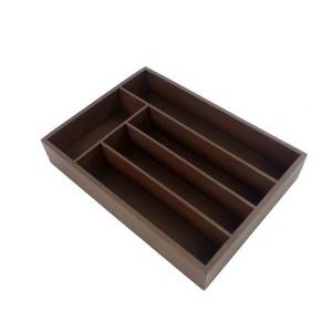 Bridge Style Bamboo Cutlery Tray Kitchen Utensil Silverware Flatware Drawer Organizer Dividers with 5 Compartment- Brown Color