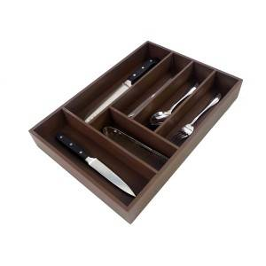 Wholesale Utensil Drawer Organizer, Cutlery Tray Desk Drawer Organizer Silverware Holder Kitchen Knives Tray Drawer Organizer, 100% Pure Bamboo Cutlery brown Color 6 slot