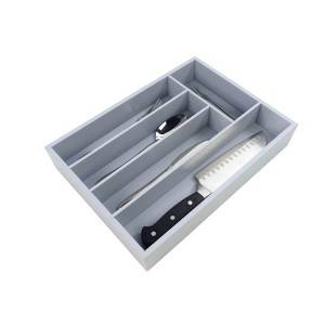 Wholesale Premium Bamboo Utensil Drawer Organizer, Drawer Divider Silverware Organizer utensil cutlery tray- 5 Compartments with Grey painting
