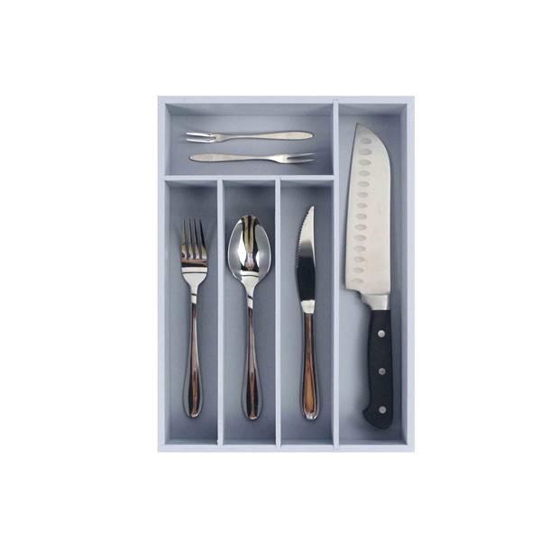 Wholesale Premium Bamboo Utensil Drawer Organizer, Drawer Divider Silverware Organizer utensil cutlery tray- 5 Compartments with Grey painting Featured Image