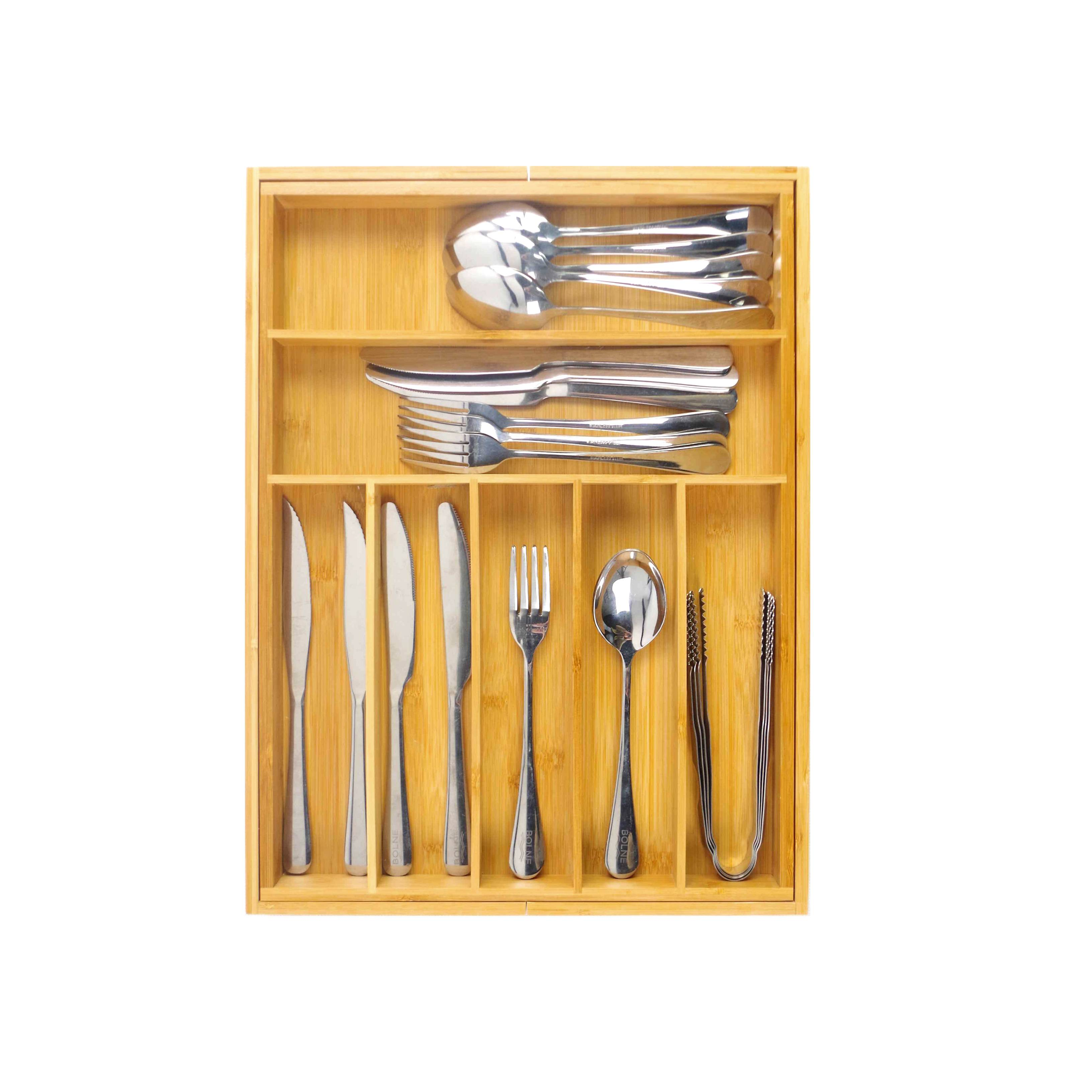 Free sample for China Cheap Price Bamboo Kitchen Drawer Organizer with 7-9 Compartments, Deep Silverware Organizer, Utensil Organizer, Silverware Tray Featured Image
