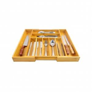 Free sample for China Cheap Price Bamboo Kitchen Drawer Organizer with 7-9 Compartments, Deep Silverware Organizer, Utensil Organizer, Silverware Tray