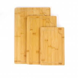 Well-designed China Set of 3 Piece Butcher Meat Juice Groove Bread Long Cutting Board Chop Bamboo Fiber Board
