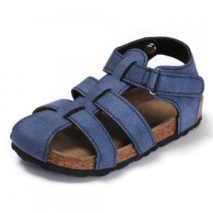 Factory Wholesale High Quality Kids Boys Children Bio Cork Sandals with Comfortable Memory Foam Cushion