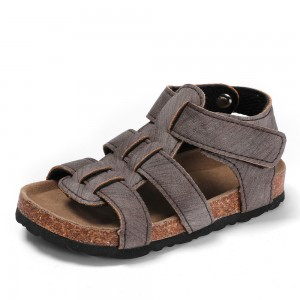 High Quality Open-toe Kids Boys Children Bio Cork Sandals with Comfortable Memory Foam Cushion