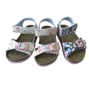 New Design Pu Upper with Hearts printed Cork Sole Girls Foot-bed Sandals For Kids