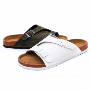 New Style Men Summer Cork Sole Flat Sandals With Comfortable Foot-bed