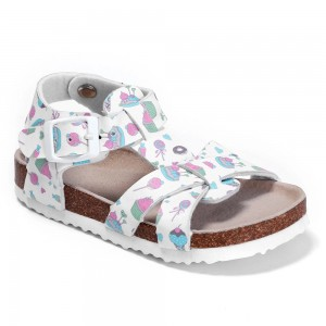 Amazon Tops Sales New Style with Adjustable Buckles Cork Foot-bed for Kids Children Girls Flat Sandals