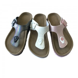 New Design Summer Open Toe  Buckle Sandals Cork Sole Girls Thong Sandals
