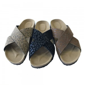 Lady Two Band Footbed Mules With Leopard Prints
