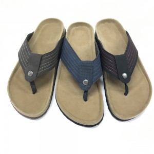 Byring Shoes Men's  Flip Flops Cork Sole Thong Sandals with Comfortable Foot-Bed Insole