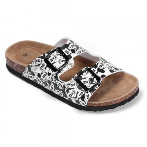 Lovely Women's Buckle Straps Sandals with Cork Foot-bed and New Cartoon Printing