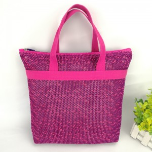 Vintage mesh fabric storage handbag shopping bag organizer reusable tote