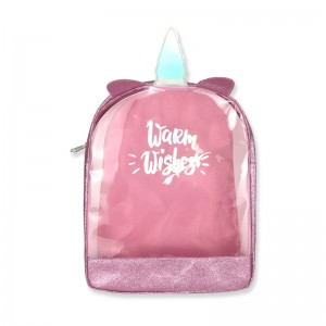 Cute mini 3D unicorn glitter PVC backpack with grip handle with zipper closure with double adjustable straps large capacity for kids teens adults for work school shopping