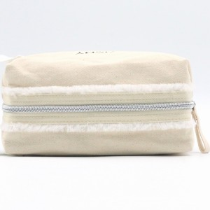 Natural Cotton Bag Casual Durable Handle Grocery Makeup With Zipper