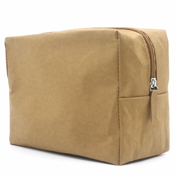 Durable washable kraft paper Zipper Closure Makeup Bag Natural Cosmetic Bag Featured Image