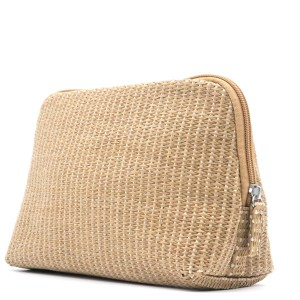 Natural Paper Straw Bag Eco-friendly Cosmetic Organizer Zipper Pouch Make Up Bag