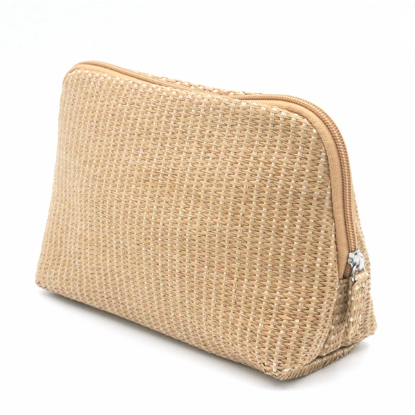Natural Paper Straw Bag Eco-friendly Cosmetic Organizer Zipper Pouch Make Up Bag Featured Image