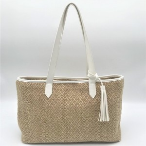 Natural Paper Straw Bag Eco-friendly cosmetic organizer zipper shopping bag travel packaging makeup bag with tassel
