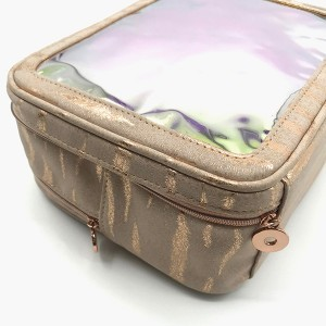 Eco-friendly PU cosmetic bags with holographic PVC windows