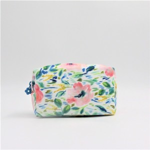 RPET Flower Bag with Full Printing Cosmetic Packing Bag Zipper Stamp for Travel Business