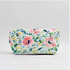 RPET with full printing cosmetic packing bag flower zipper stamp portable pouch