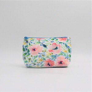 RPET with full printing cosmetic packing bag flower zipper stamp portable pouch shell shape