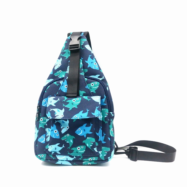 Fish Pattern RPET 100% Recycled Material Chest Bag Sport Style Running Bag Portable Cool Fashion messenger bag for unisex Featured Image